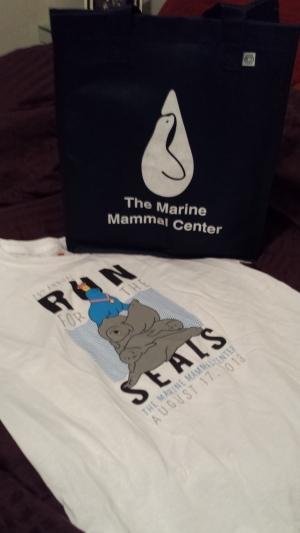 run for the seals t-shirt and bag